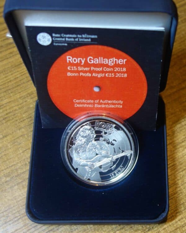 IRELAND RORY GALLAGHER 15 EURO SILVER PROOF COIN. 2018.